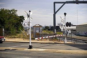 Boom barrier - Automatic boom barriers in a level crossing of New South Wales, Australia.