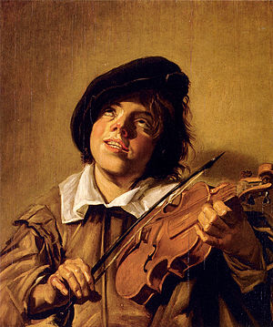 Janko Muzykant - Boy Playing A Violin, 17th-century painting by unknown student of Frans Hals.