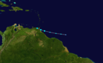Tropical Storm Bret (02L) shortly after formation nearing Trinidad on June 19