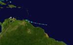 Tempesta tropicale Bret (02L) poco dopo la formazione in avvicinamento a Trinidad il 19 giugno