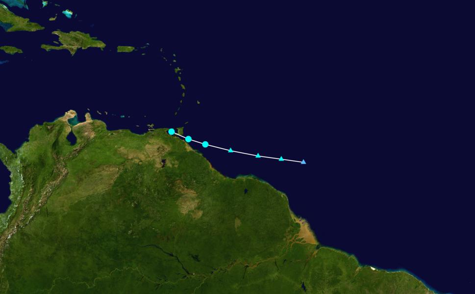 Tropical Storm Bret (02L) making landfall in Trinidad at peak intensity