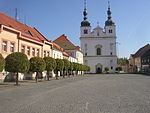 Breznice PB CZ town square SS Francis and Ignatius church 630.jpg