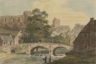 Bridge over the Honddy at Brecon with the Castle & Priory