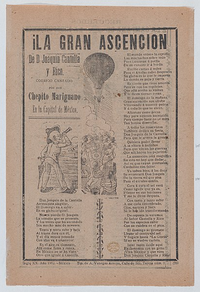 File:Broadsheet relating to the adventures of Don Joaquin Cantolla y Rico who travels in a hot air balloon, crowd of people watching him ascend MET DP868521.jpg