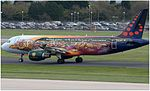 Brussels Airlines (Tomorrowland livery) Airbus A320-214 (OO-SNF) at Manchester Airport (EGCC).jpg