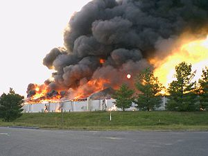 Waynesboro Outlet Village - Building 7 burns to the ground as part of a fire department training exercise.