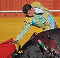 Bullfighter in the Plaza de toros de la Real Maestranza de Caballería in Seville.jpg