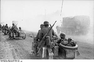Sidecar - German troops on motorcycles with sidecars invading the Soviet Union during Operation Barbarossa