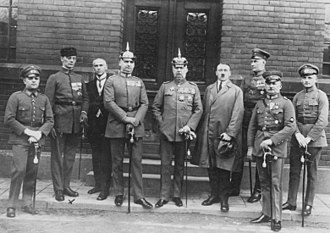 Ernst Röhm - Defendants in the Beer Hall Putsch trial. From left to right: Pernet, Weber, Frick, Kriebel, Ludendorff, Hitler, Bruckner, Röhm, and Wagner.