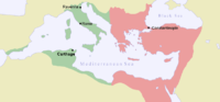 Byzantine Empire in 550. The re-conquests of Justinian I are in green