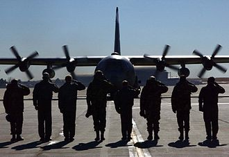 302d Airlift Wing - C-130 preparing to leave on a deployment