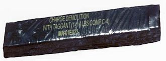 Plastic explosive - A 1.25 lb demolition charge of C4 explosive