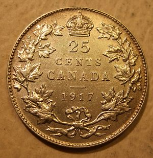 Quarter (Canadian coin) - A 1917 quarter featuring King George V