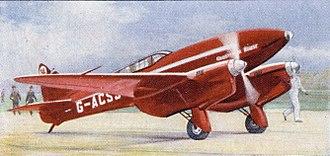 Tom Campbell Black - de Havilland DH.88 Comet racer G-ACSS, Grosvenor House, flown by Tom Campbell Black.