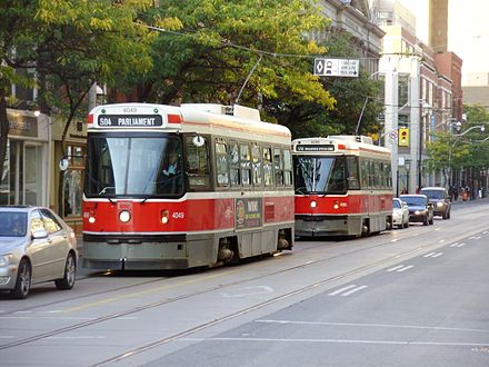 The Toronto streetcar system is the largest streetcar system in the Americas. CLRVs 4049 and 4090 Eastbound on King.jpg