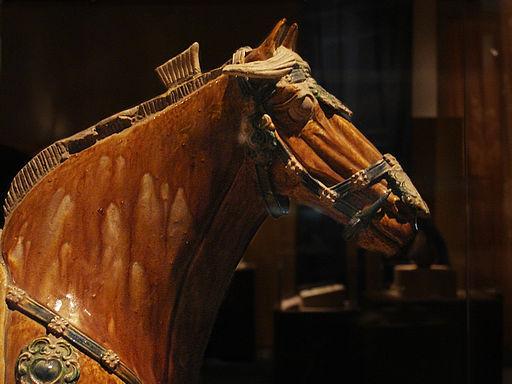 CMOC Treasures of Ancient China exhibit - pottery horse, detail 2