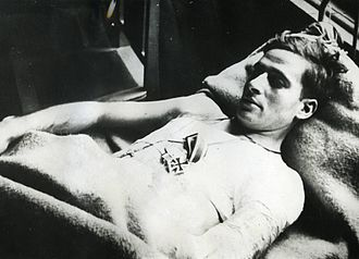 Blue Division - Second lieutenant José Escobedo severely wounded and decorated with an Iron Cross First Class for his heroism in escaping a Russian POW camp