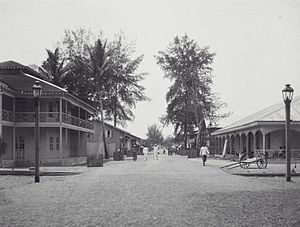 Lhokseumawe - Street scene in Lhoksuemawe in the Dutch colonial period