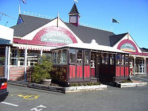 Dunedin cable tramway system - A Roslyn cable car in Kaikorai Valley, Dunedin at Cableways Tavern, near the old Stuart Street Cable Car Terminus.
