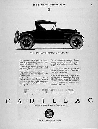 Cadillac - A 1921 Cadillac advertisement.