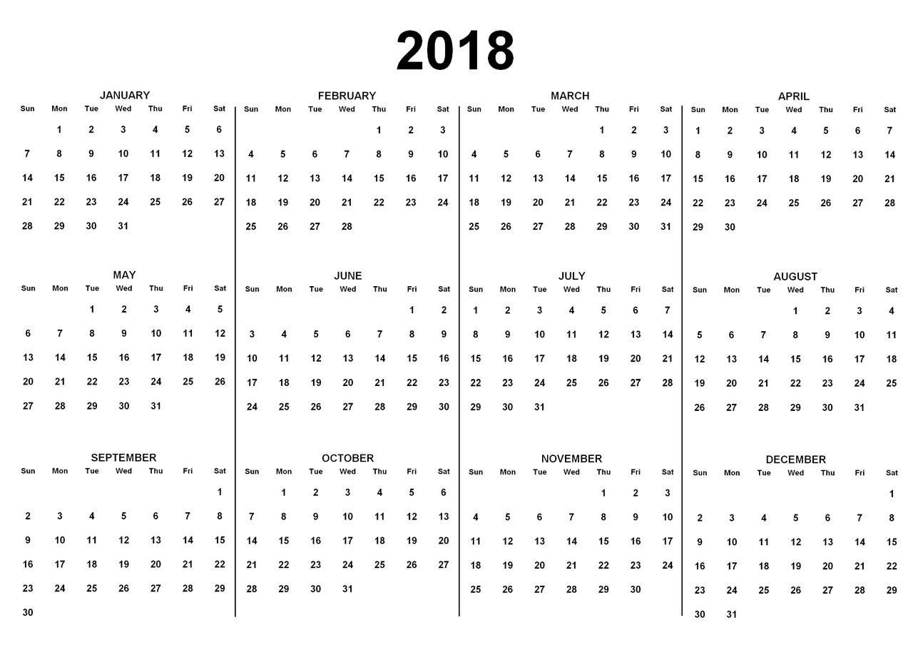 Calendar 2018 To Print A3