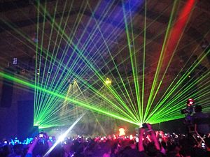Stage lighting - Dazzling light effects during a Kanye West show in 2011.