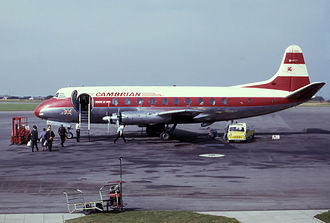 Cambrian Airways - Viscount 701 loads at Bristol Airport in 1963.