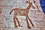 Rock drawing of warriors.