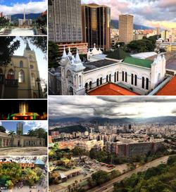 Collage of Caracas, clockwise from top left: Plaza Francia, La Candelaria, panoramic view of Caracas, Boulevard Sabana Grande, Caracas Science Museum, Plaza Venezuela, and Nuestra Señora de Lourdes chapel.