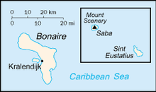 Map showing Bonaire, Sint Eustatius, and Saba