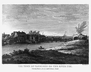 Caerleon - Caerleon in 1800, from the south and showing the bridge