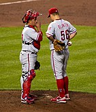 Carlos Ruiz visit Joe Blanton on the mound