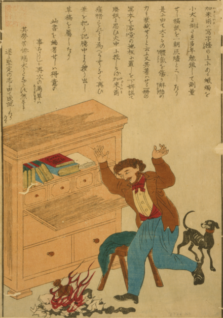 Japanese print depicting Carlyle's horror at the burning of his manuscript of The French Revolution: A History Carlyle manuscript burning Japan cph.3g10399.tif