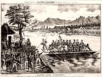 Wallachian uprising of 1821 - Pandurs crossing the Olt River at Slatina, on May 10, 1821; the four men standing at the front of the barge are, from the left: Dimitrie Macedonski, Tudor Vladimirescu, Mihai Cioranu, and Hadži-Prodan. Lithograph by Carol Isler