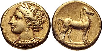 Shekel - An electrum Carthaginian shekel, c. 310–290 BC, bearing the image of Tanit, consort of Baʿal Hammon.