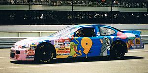 Melling Racing - Lake Speed in the Cartoon Network No. 9 Ford, about to qualify for the Pocono Raceway Winston Cup Race, June 1998.