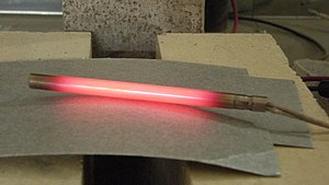 Electrical resistance and conductance - Running current through a material with high resistance creates heat, in a phenomenon called Joule heating. In this picture, a cartridge heater, warmed by Joule heating, is glowing red hot.