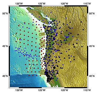 Ocean-bottom seismometer - This is a map of the land and ocean-bottom stations that were deployed in the Cascadia Initiative.  (Photo from http://cascadia.uoregon.edu/CIET/cascade-initiative-background)