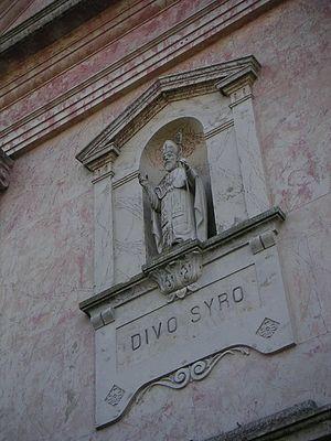 Syrus of Pavia - Statue of Syrus, Chiesa di San Siro, Castelletto Monferrato.