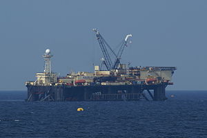 Nord Stream - The semi-submersible pipe-laying vessel Castoro Sei operating for Nord Stream in the Baltic Sea south-east of Gotland, Sweden in late March 2011.