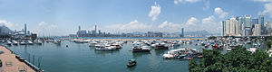 Causeway Bay Typhoon Shelter - Panoramic view of Causeway Bay Typhoon Shelter.