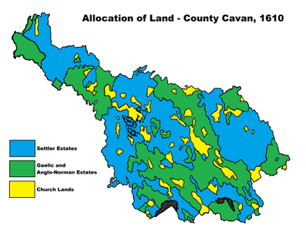 64% of Cavan's approximately 500,000 acres was allocated to settlers during the initial plantation Cavan Plantation Map.png