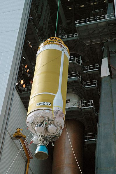 File:Centaur upper stage being lifted.jpg