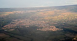 Aerial view of the town of Cerveteri.