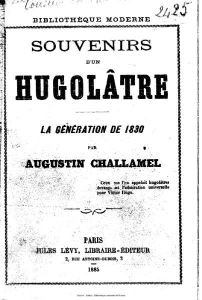 File:Challamel - Souvenirs d'un hugolâtre.djvu