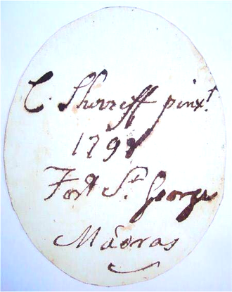 Charles Shirreff (painter) - Shirreff's signature on the reverse of a 1798 miniature