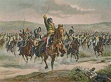 Drawing showing Marshal Murat leading dragoons at Jena.