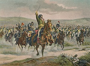 Marc Antoine de Beaumont - Marshal Murat leading dragoons at Jena.