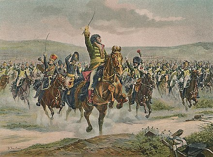 Marshal Joachim Murat, the most famous of many daring and charismatic French cavalry commanders of the era, leads a charge during the battle. Chartier-Murat at Jena.jpg