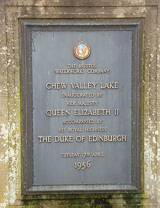 Chew Valley Lake - Plaque unveiled by Queen Elizabeth II in 1956